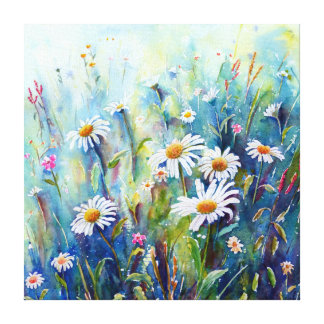 Watercolor Daisy Field Canvas Print
