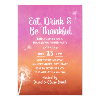 Watercolor Dandelion Thanksgiving Dinner Party Card