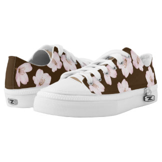 Watercolor Dark Brown Cherry Blossom Zips Low Tops Printed Shoes