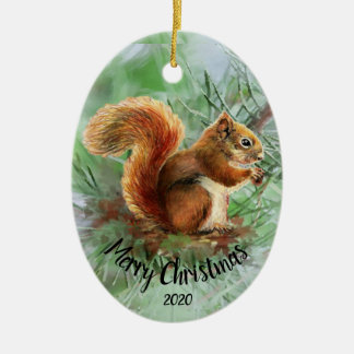 Watercolor Dated Squirrel Animal Merry Christmas Ceramic Ornament
