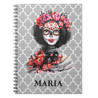 Watercolor Day of the Dead Skull Roses Pink Red Notebook