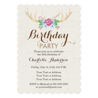 Watercolor Deer Antlers Birthday Party Invitation