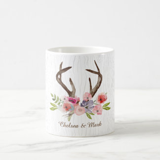 Watercolor Deer Antlers Wildflowers Faux Bois Coffee Mug