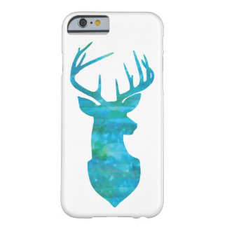 Watercolor Deer Silhouette in Blue and Green Barely There iPhone 6 Case