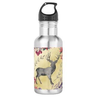 Watercolor Deer Winter Berries Gold 532 Ml Water Bottle
