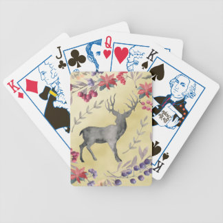 Watercolor Deer Winter Berries Gold Bicycle Playing Cards