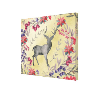 Watercolor Deer Winter Berries Gold Canvas Print