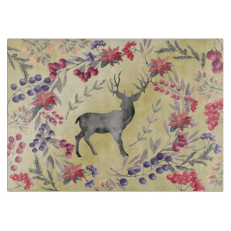 Watercolor Deer Winter Berries Gold Cutting Board