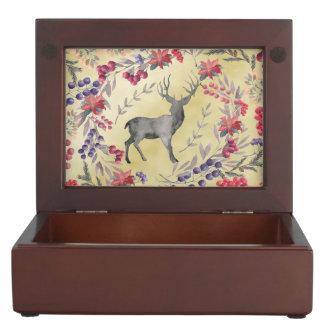 Watercolor Deer Winter Berries Gold Keepsake Box