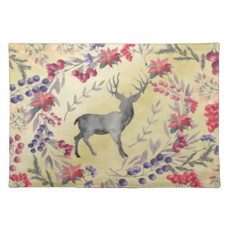 Watercolor Deer Winter Berries Gold Placemat