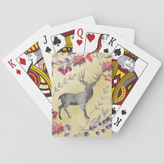 Watercolor Deer Winter Berries Gold Playing Cards