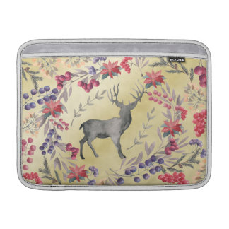 Watercolor Deer Winter Berries Gold Sleeve For MacBook Air