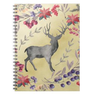 Watercolor Deer Winter Berries Gold Spiral Notebook