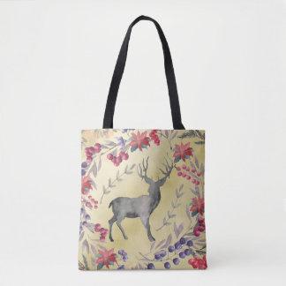 Watercolor Deer Winter Berries Gold Tote Bag