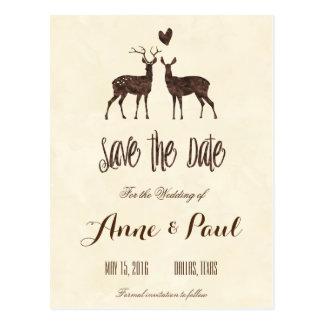 Watercolor Deers Save the Date Postcard