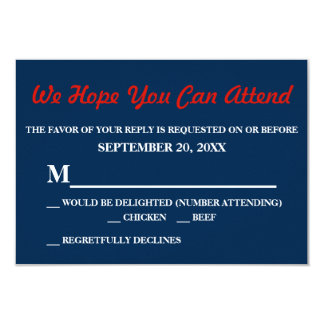 Watercolor Denim Blue Red Rose Small RSVP Reply 9 Cm X 13 Cm Invitation Card
