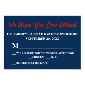 Watercolor Denim Blue Red Rose Small RSVP Reply 9 Cm X 13 Cm Invitation Card