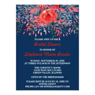 Watercolor Denim Blue Rose Wedding Bridal Shower 14 Cm X 19 Cm Invitation Card