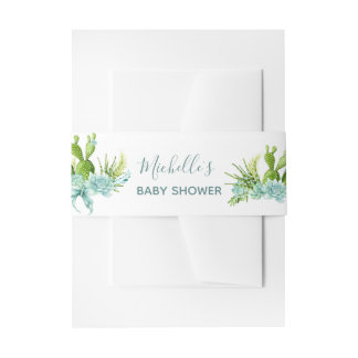 Watercolor Desert Cactus Succulents Baby Shower Invitation Belly Band