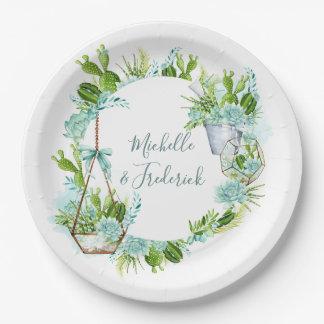 Watercolor Desert Cactus Succulents Wedding Paper Plate
