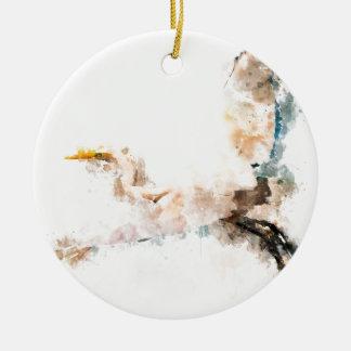 Watercolor design, crane bird flying ceramic ornament