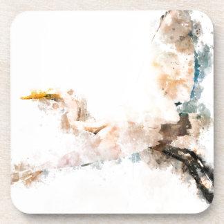 Watercolor design, crane bird flying coaster