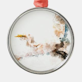 Watercolor design, crane bird flying metal ornament