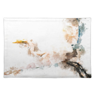 Watercolor design, crane bird flying placemat