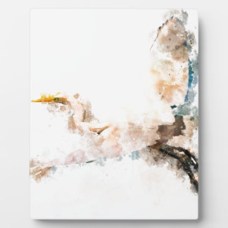 Watercolor design, crane bird flying plaque