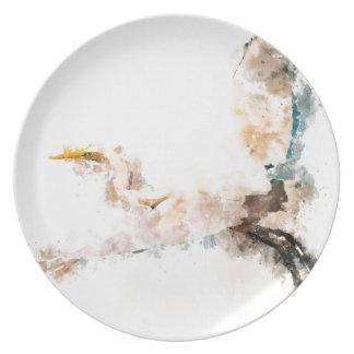 Watercolor design, crane bird flying plate