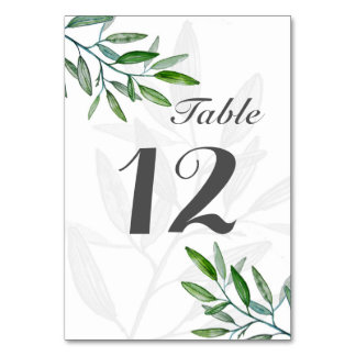 Watercolor design trend table number wedding table card