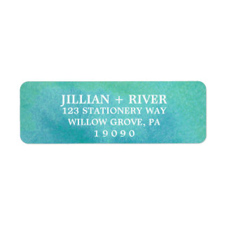 Watercolor Destination Beach Wedding Return Address Label