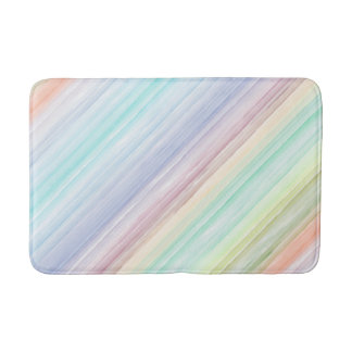 Watercolor Diagonal Stripes Bath Mat