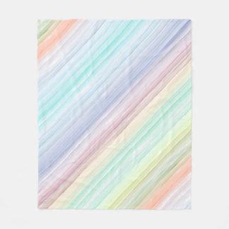 Watercolor Diagonal Stripes Fleece Blanket