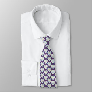 Watercolor diamond heart gemstone pattern tie