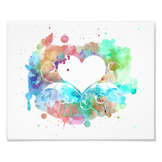 Watercolor Digital Painting | Hearts Cutouts Photo Print