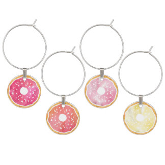 Watercolor Donut Wine Charms