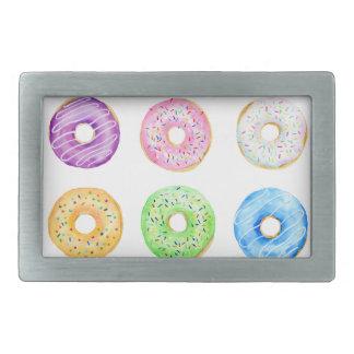 Watercolor donuts pattern belt buckle