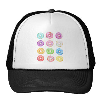 Watercolor donuts pattern cap