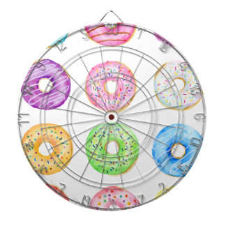Watercolor donuts pattern dartboard