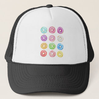 Watercolor donuts pattern trucker hat