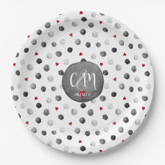 Watercolor dots and hearts gray, red, white paper plate