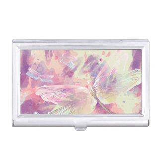 Watercolor Dragonflies Pink Lavender White Business Card Holder