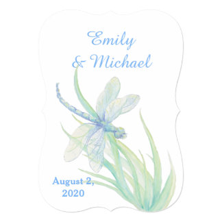 Watercolor Dragonfly Blue Green Nature Wedding Card