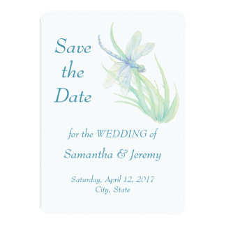 Watercolor Dragonfly Blue Green Save the Date Card