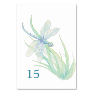 Watercolor Dragonfly Blue Green Table Card Wedding