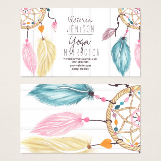 Watercolor dreamcatcher feathers wood yoga business card