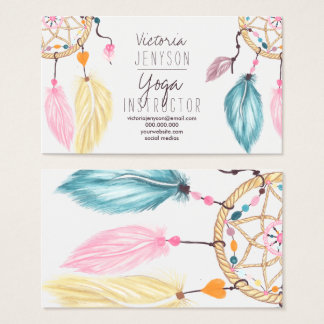Watercolor dreamcatcher feathers yoga instructor