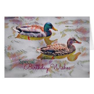 Watercolor Ducks Birthday Card