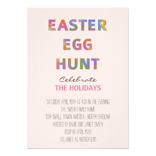 Watercolor Easter Egg Hunt Personalized Announcement